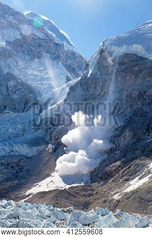Avalanche From Nuptse Peak Near Everest Base Camp, Nepal Himalayas Mountains