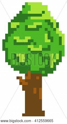Isolated Tree With Green Foliage On White Background. Deciduous Plant For Pixel Game Design Layout