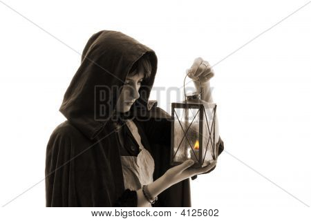 Girl With A Candle-Lantern