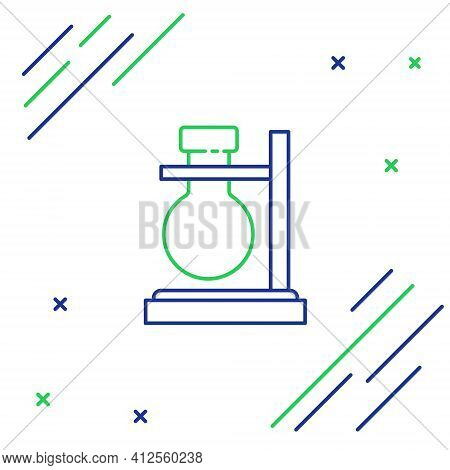Line Glass Test Tube Flask On Stand Icon Isolated On White Background. Laboratory Equipment. Colorfu