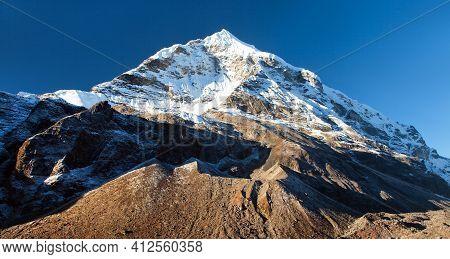 Peak Seven 7 Vii, Beautiful Mount On The Way To Makalu Base Camp, Barun Valley, Nepal Himalayas Moun
