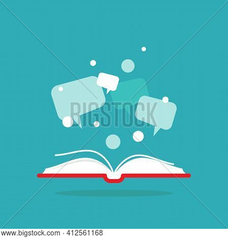 Open Book With Red Book Cover And Speech Bubbles And Dots Flying Out. Isolated On Powder Blue Backgr