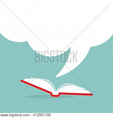 Open Book With Red Book Cover And Big Speech Bubble Flying Out. Isolated On Powder Blue Background.