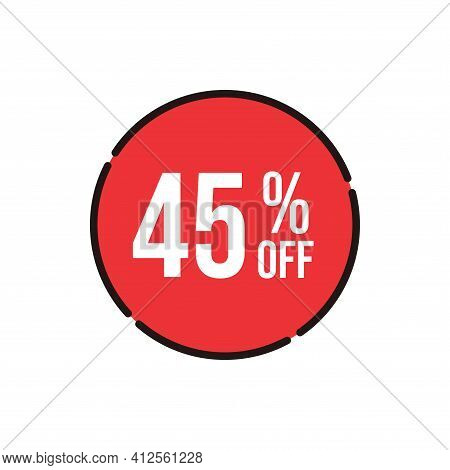 45% Sale Tag Vector Badge Template, 45% Sale Label Collection, Clearance Sale Sticker Emblem, Bargai