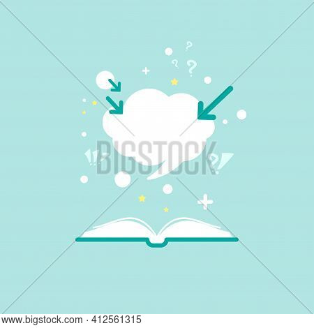 Open Book With Question Marks, Plus Sign, Arrows And Speech Bubble On Powder Blue Background. Flat V