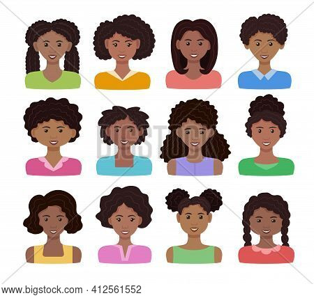 African Woman Avatar Set. Vector Illustration. Black Happy Girls With Different Hairstyles. Female C