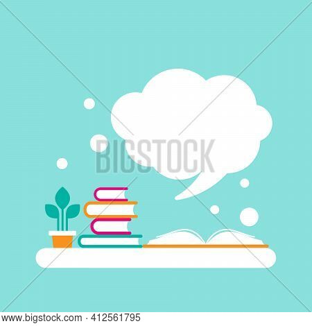 Stack Of Books And Open Book With Orange Cover And White Speech Bubble Flying Out. Isolated On Powde