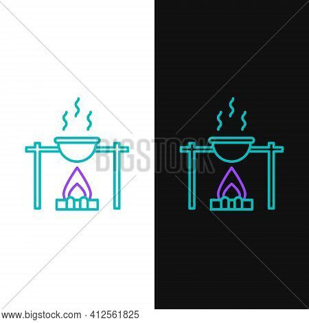 Line Campfire And Pot Icon Isolated On White And Black Background. Fire Camping Cooking In Cauldron