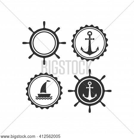 Nautical Labels Set. Helm And Anchor Isolated On White. Ship And Boat Steering Wheel Sign. Rudder La