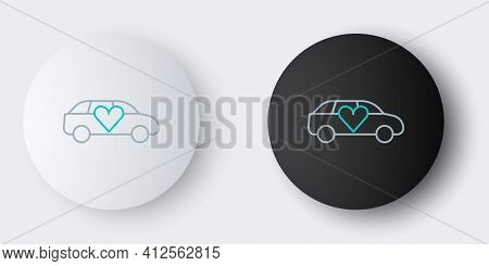 Line Luxury Limousine Car Icon Isolated On Grey Background. For World Premiere Celebrities And Guest