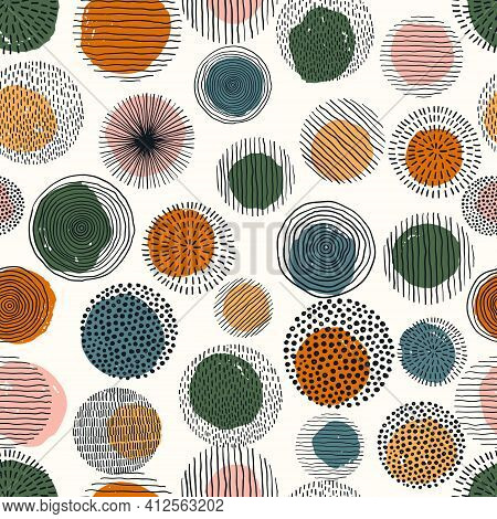 Abstract Geometric Seamless Pattern With Doodle Circles And Geometric Shapes. Trendy Hand Drawn Text