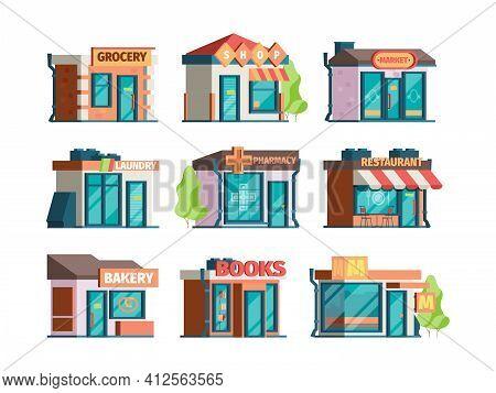 Storefront Facade. Urban Local Market Facade Exterior Modern Restaurant And Caffe Garish Vector City