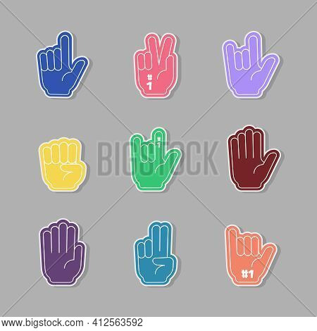 Fans Gloves. Colored Hands Cheering Sport Fans Thumbs Up On Stadium Conference Garish Stylized Vecto