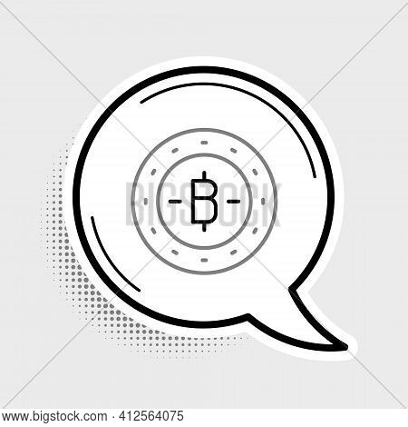 Line Cryptocurrency Coin Bitcoin Icon Isolated On Grey Background. Physical Bit Coin. Blockchain Bas