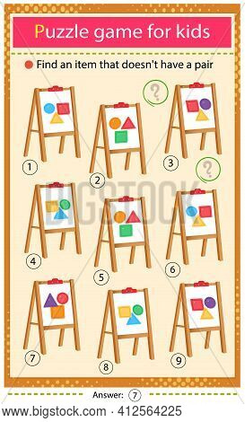 Find A Easel That Does Not Have A Pair. Puzzle For Kids. Matching Game, Education Game For Children.