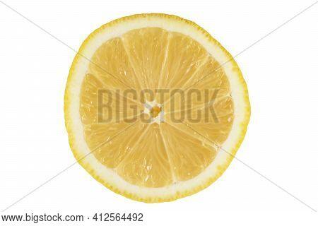 Lemon. Isolated Slice Of Lemon On White Background. Fresh Isolated Lemon Slice Isolated On White Bac