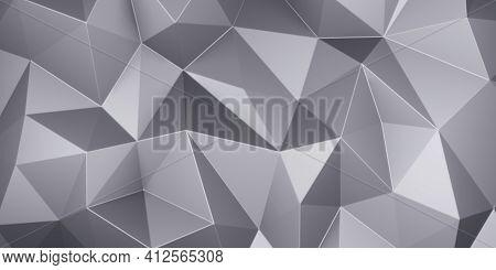 Gray Triangle Low Polygon. Grey Geometric Triangular Polygonal. Abstract Mosaic Background. 3d Rende
