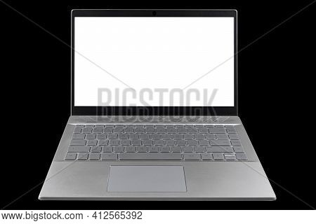 Laptop Computer Pc With Blank Screen Mock Up Isolated On Black Background. Laptop Isolated Screen Wi