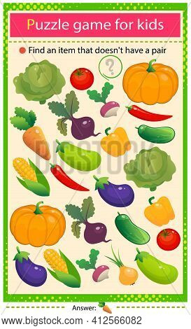 Find A Veggie That Does Not Have A Pair. Puzzle For Kids. Matching Game, Education Game For Children