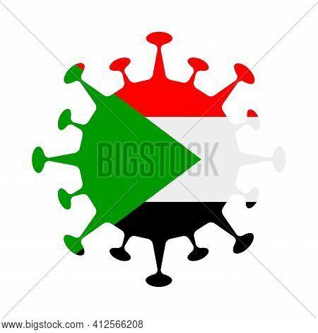 Flag Of Sudan In Virus Shape. Country Sign. Vector Illustration.