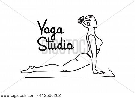 Yoga Studio Simple Vector Signboard, Poster, Banner. One Continuous Line Drawing Illustration Of Wom