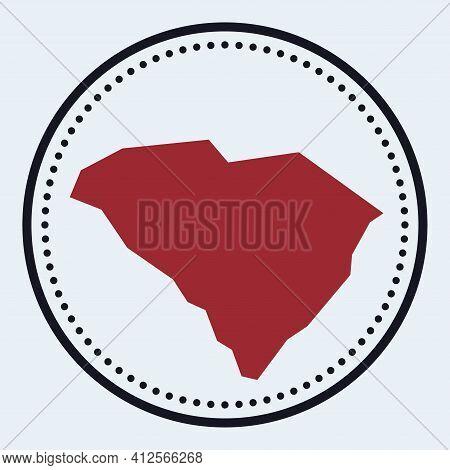 South Carolina Round Stamp. Round Logo With Us State Map And Title. Stylish Minimal South Carolina B