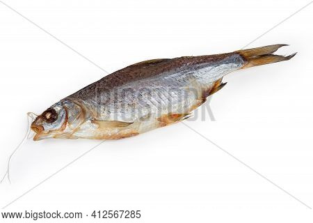 Salted And Air-dried Roach On A White Background