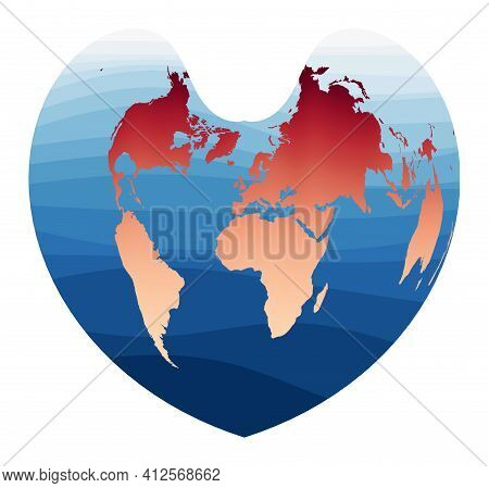 World Map Vector. Bonne Pseudoconical Equal-area Projection. World In Red Orange Gradient On Deep Bl