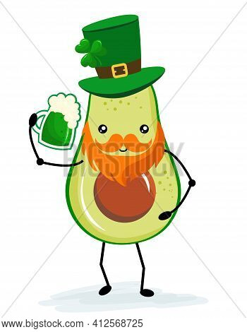 Leprechaun Avocado With Beer - Funny St Patrik's Day Kawaii Character Design With Green Avocado On W