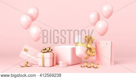 Pink Background, Golden Gift Boxes And Balloons, Blank Space. 3d Rendering