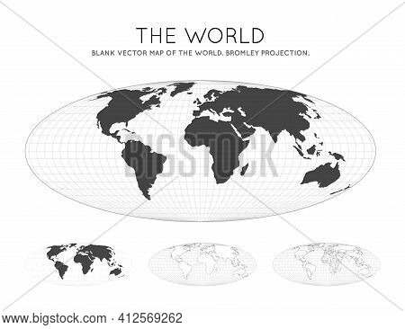 Map Of The World. Bromley Projection. Globe With Latitude And Longitude Lines. World Map On Meridian