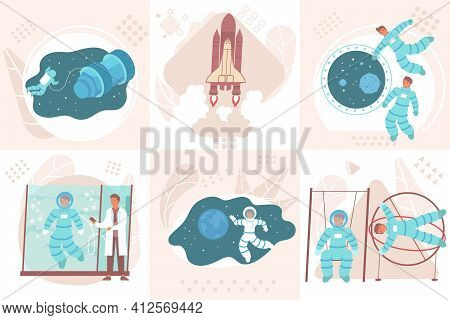 Astronaut Design Concept With Square Compositions Of People During Gravity Load And Weightlessness T