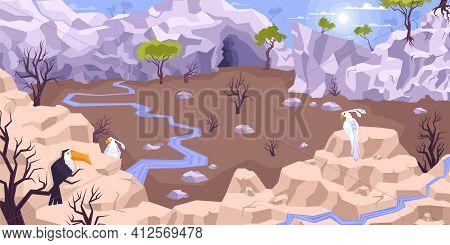 Landscape Mountains Flat Composition With Dryland Scenery And Tableland With Brooks Surrounded By Cl