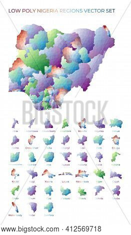 Nigerian Low Poly Regions. Polygonal Map Of Nigeria With Regions. Geometric Maps For Your Design. Co