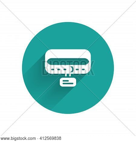 White Collar With Name Tag Icon Isolated With Long Shadow. Simple Supplies For Domestic Animal. Cat