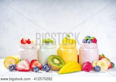 Set Of Various Fruit Berry Yoghurts