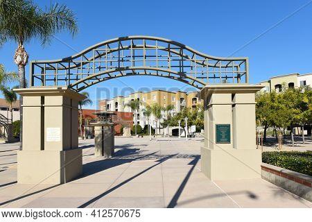 FULLERTON, CALIFORNIA - 24 JAN 2020: Fullerton Downtown Plaza is a 1.2 acre space surrounding the Fullerton Museum Center.