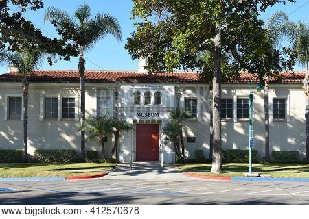 FULLERTON, CALIFORNIA - 24 JAN 2020: Fullerton Museum Center, an Educational space showcasing diverse exhibitions and programs in history, science, art and humanities
