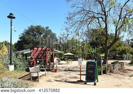 FULLERTON, CALIFORNIA - FEBRUARY 7, 2018: Fullerton Arboretum Nature and Visitor Center. The area features a Garden Shop that offers a wide variety of garden products and garden related items.