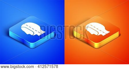 Isometric Diving Hood Icon Isolated On Blue And Orange Background. Spearfishing Hat Winter Swim Hood