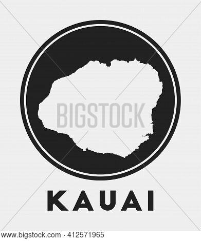Kauai Icon. Round Logo With Island Map And Title. Stylish Kauai Badge With Map. Vector Illustration.