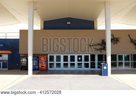 FULLERTON CALIFORNIA - 22 MAY 2020: Closeup of the Titan Gym Entrance California State University Fullerton, CSUF.