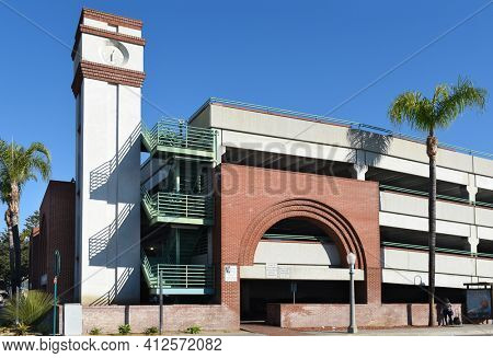 FULLERTON, CALIFORNIA - 24 JAN 2020: Parking structure in the downtown area of Fullerton near the Train Station at Santa Fe Avenue and Pomona Avenue.