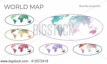 Low Poly World Map Set. Bromley Projection. Collection Of The World Maps In Geometric Style. Vector