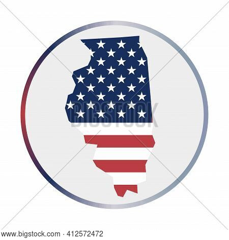 Illinois Icon. Shape Of The Us State With Illinois Flag. Round Sign With Flag Colors Gradient Ring.