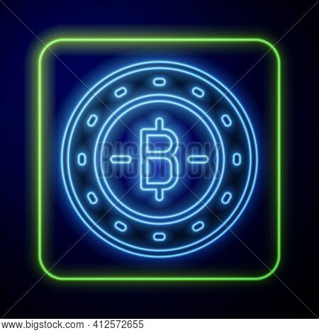 Glowing Neon Cryptocurrency Coin Bitcoin Icon Isolated On Blue Background. Physical Bit Coin. Blockc