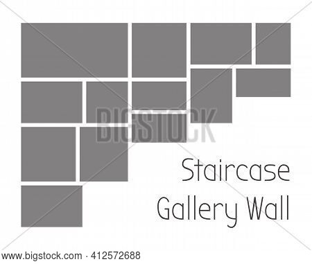 Template Collage Frames For Staircase Gallery Wall. Vector Mockup Of Mosaic Grid Of Photo Or Illustr