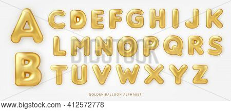 Set Of Shiny Golden Balloon Uppercase English Alphabet Text