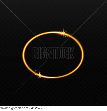 Gold Ellipse Circle With Sparkling Stars On Black Background.