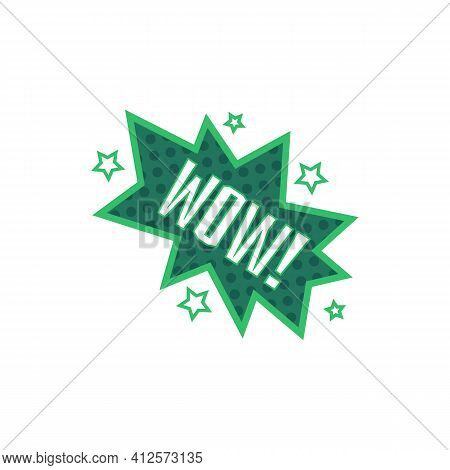Wow Green Comic Book Style Word Icon With Star Explosion Effect